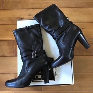 Frye Marissa Heeled Slouch Boot in Black. Size 11